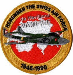 Bild von de Havilland Vampire Patch Remember the Swiss Air Force